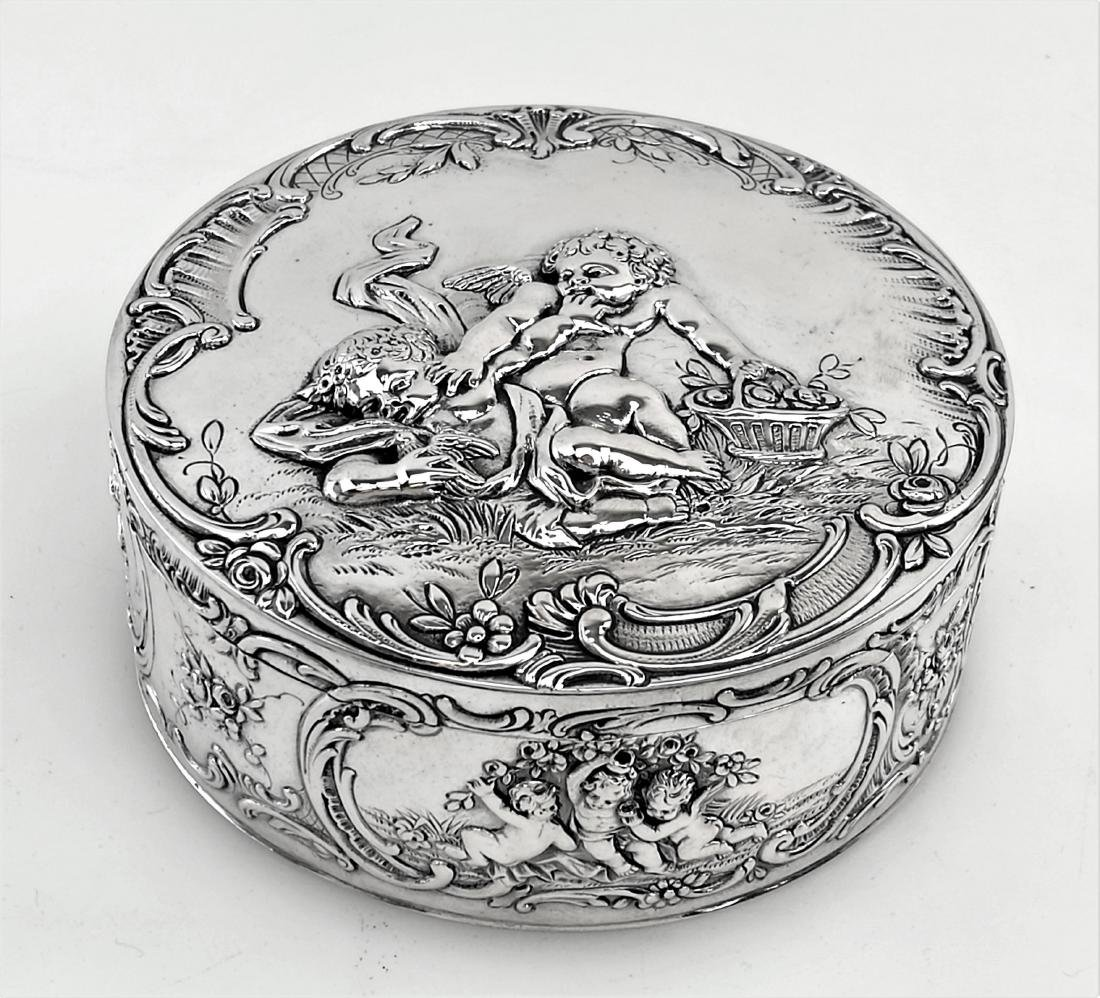 Antique German Silver Box Trinket / Jewelry Box, 1900