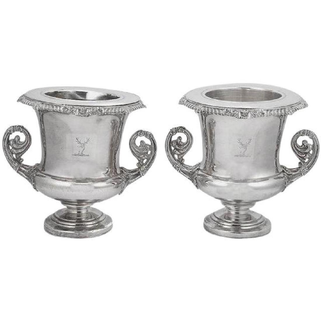 Antique Old Sheffield Silver Plated Ice Buckets.