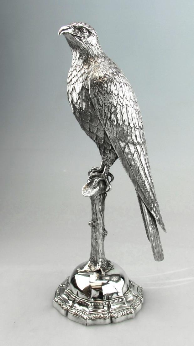 Antique German Silver Falcon on Perch Figure, 1900