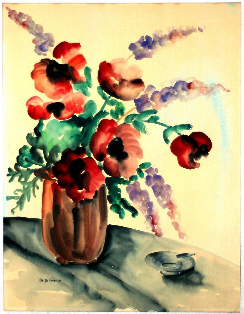 DeSalveaux: Poppies in Vase, c.1920s