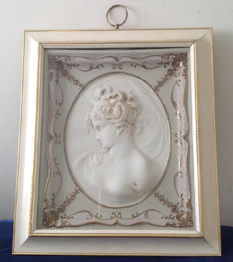 Framed Hand Precast Lady's Face Plaque