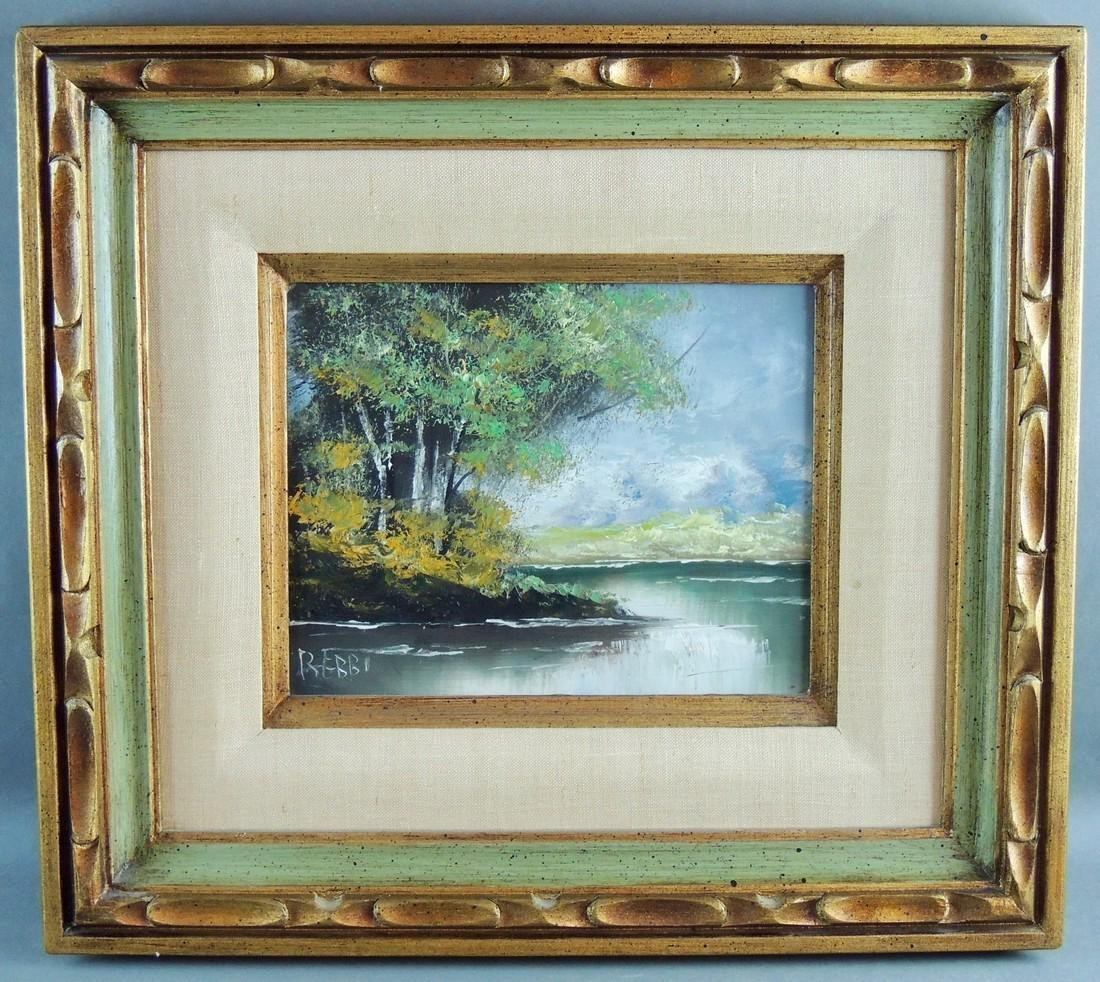 Scenic Oil Painting on Canvas, Signed Rebbi