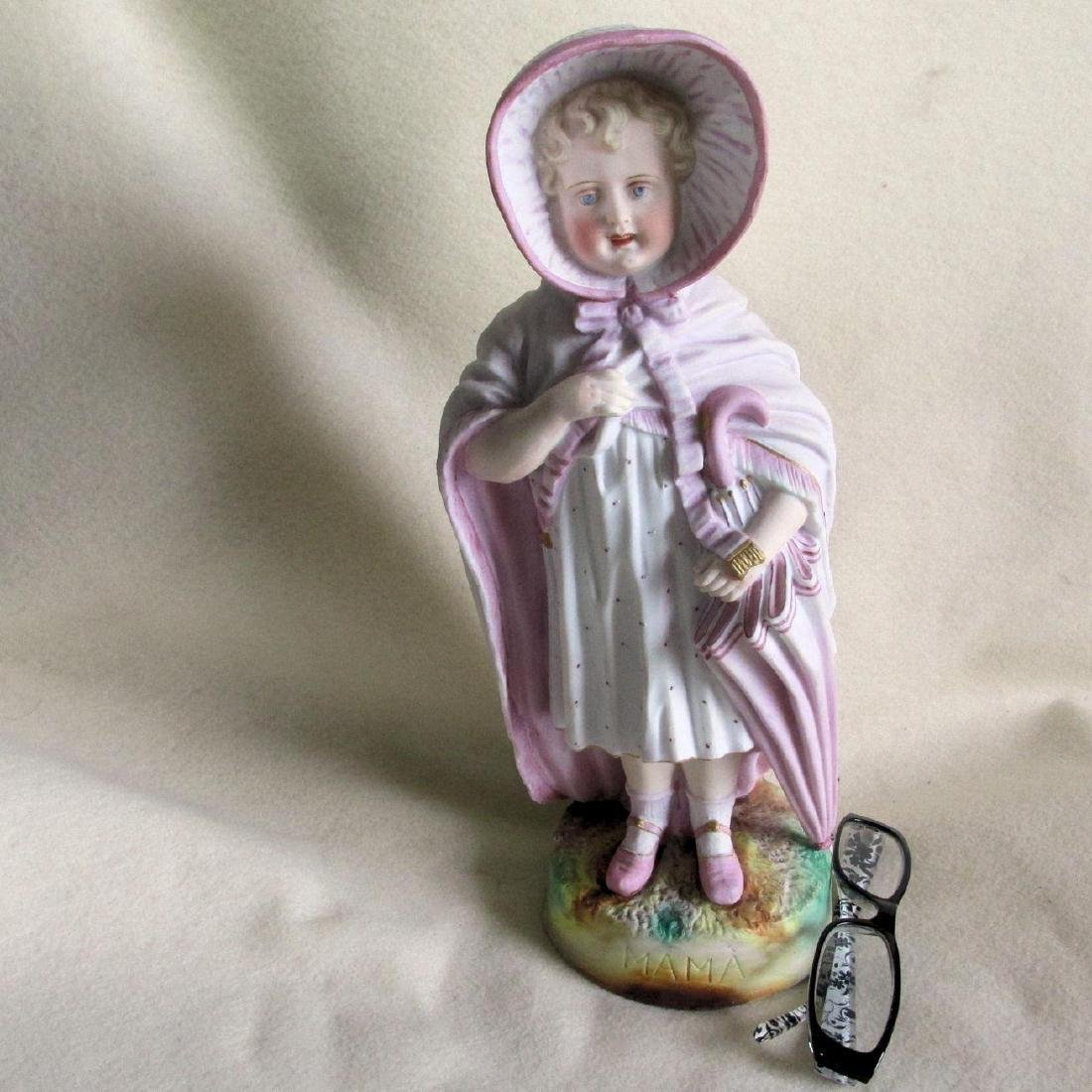 1890's Victorian Bisque Bust of Girl In Mothers Clothes