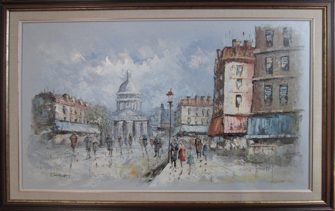 Burnett Oil Painting Paris Scene, Signed