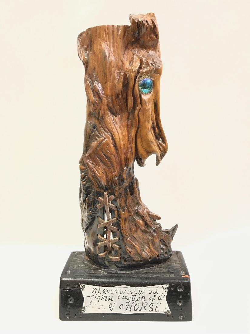 Vintage Carved Wood Horse Statue with Base