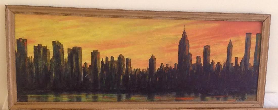 Evelyn L Dickert Oil Painting New York Skyline, Signed