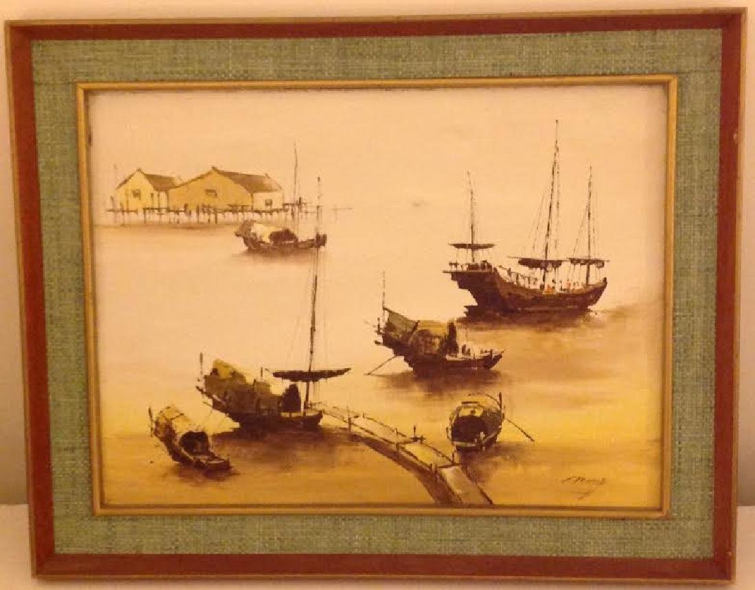 Signed Oil Painting Of A Harbor