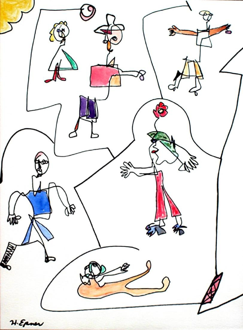 Hilda Epner: Abstract, Ink & Color on Paper