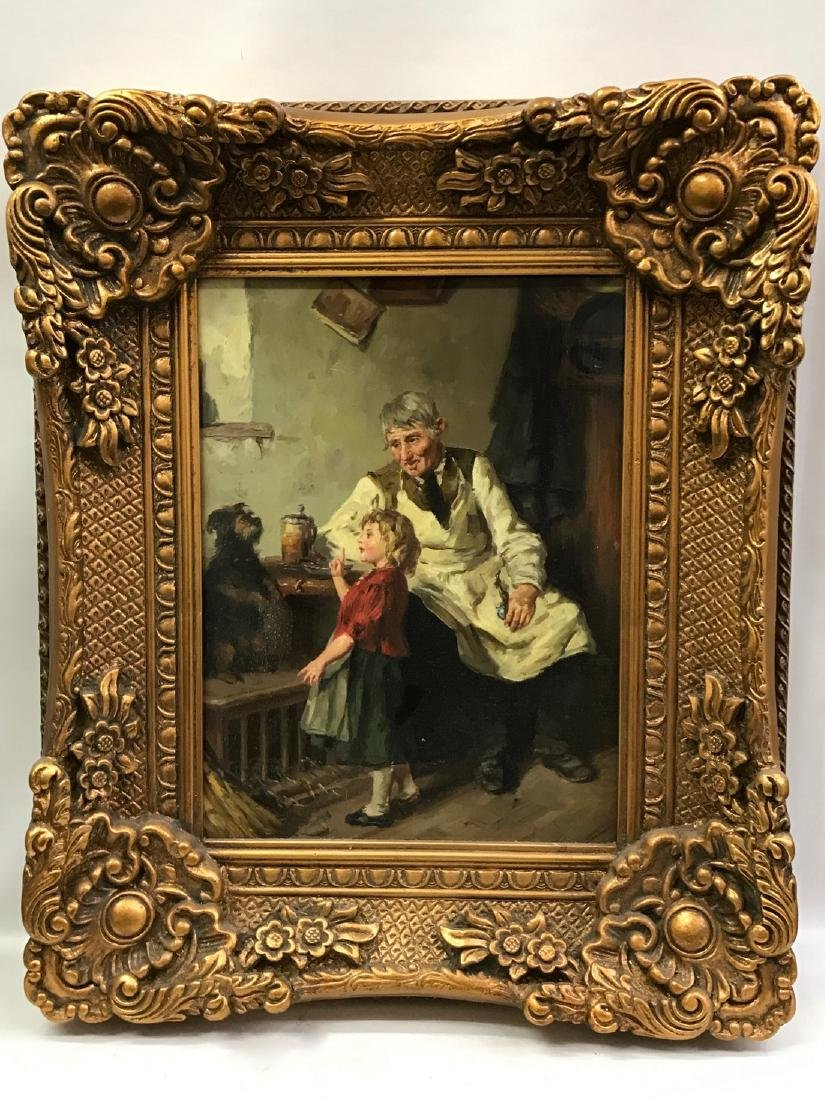 Oil Painting on Porcelain Plaque, Gold Gilt Frame