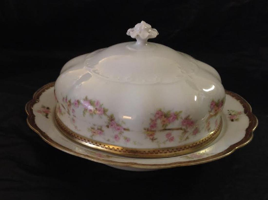 Vintage Mz Austria Round Porcelain Covered Butter Dish