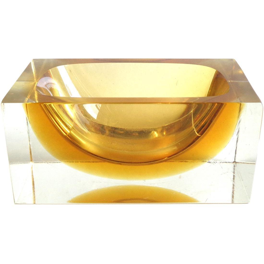 Murano Sommerso Golden Orange Art Glass Bowl