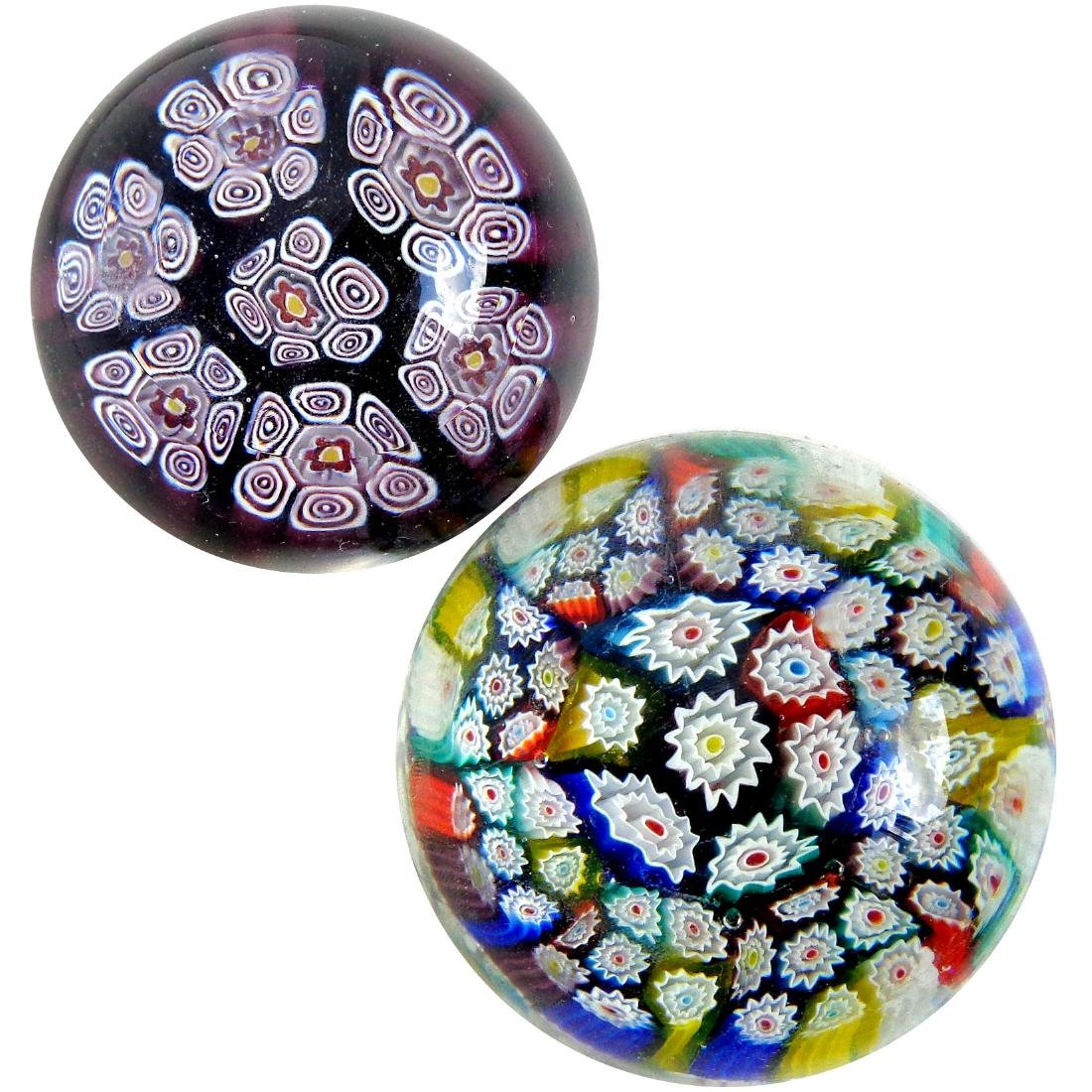Murano Millefiori Mosaic Flowers Paperweights