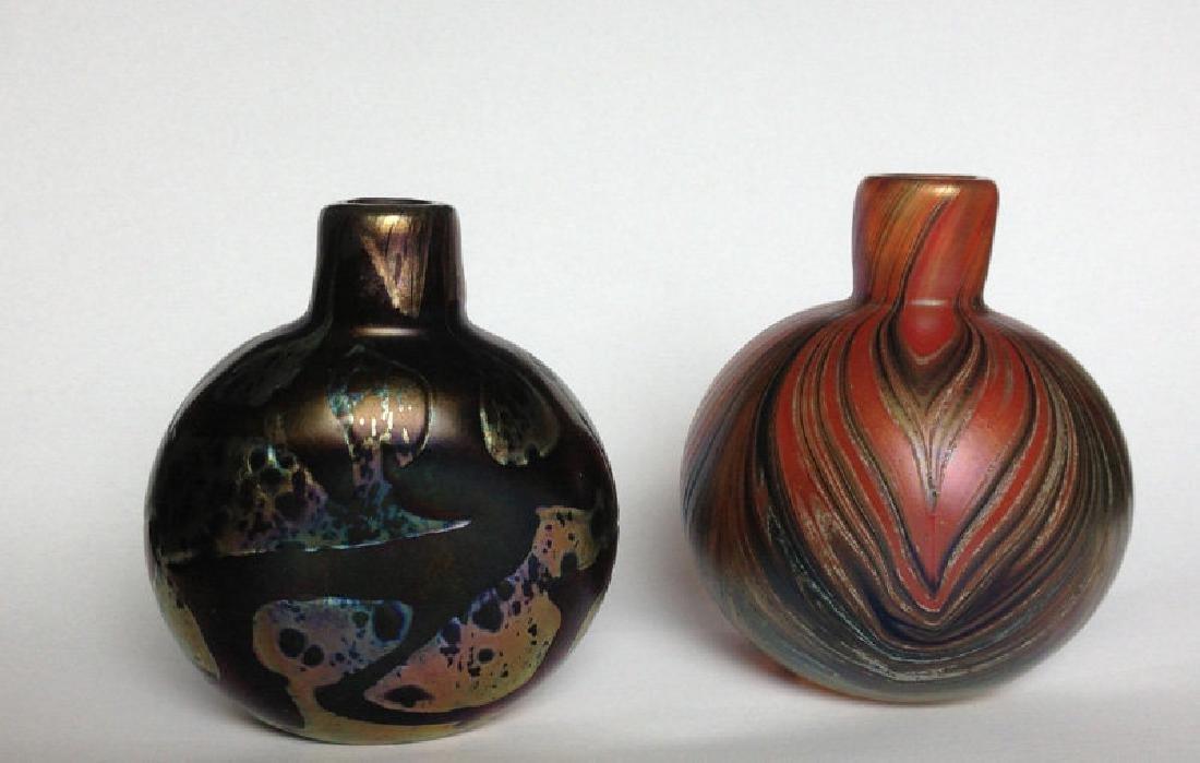 Two Art Nouveau Style Bottle Vases By Mtarfa, Malta