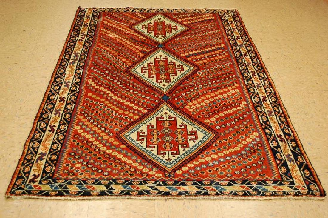 Antique Persian Shiraz Qashkai Rug 5x7.9