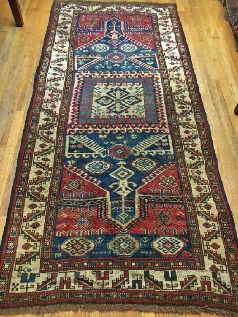 Antique Double Prayer Kazak Rug 4x8 C1880