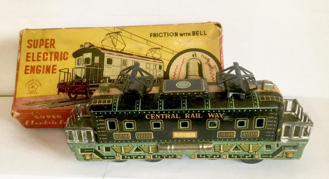 Tin Friction Toy Train Engine with Bell, 1950's