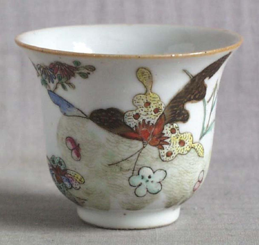 Chinese Qing Porcelain Cup Butterflies, 19th C