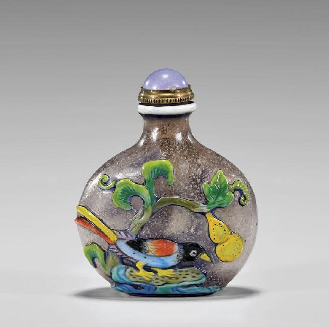 Chinese Enameled Glass Snuff Bottle: Birds & Flowers
