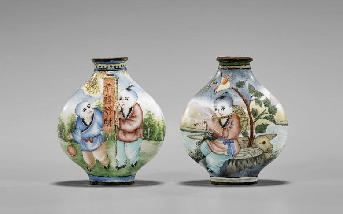 Two Chinese Enamel on Copper Snuff Bottles