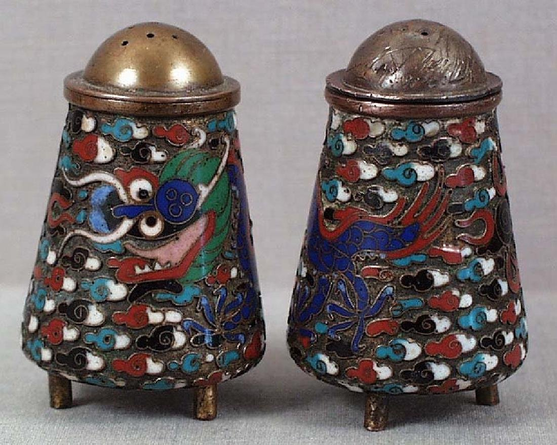 Pair of Chinese Qing Cloisonne Dragons Salts, 1900s