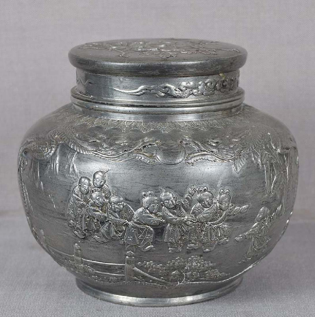 Chinese Qing Pewter Tea Caddy Children at Play, 19th C