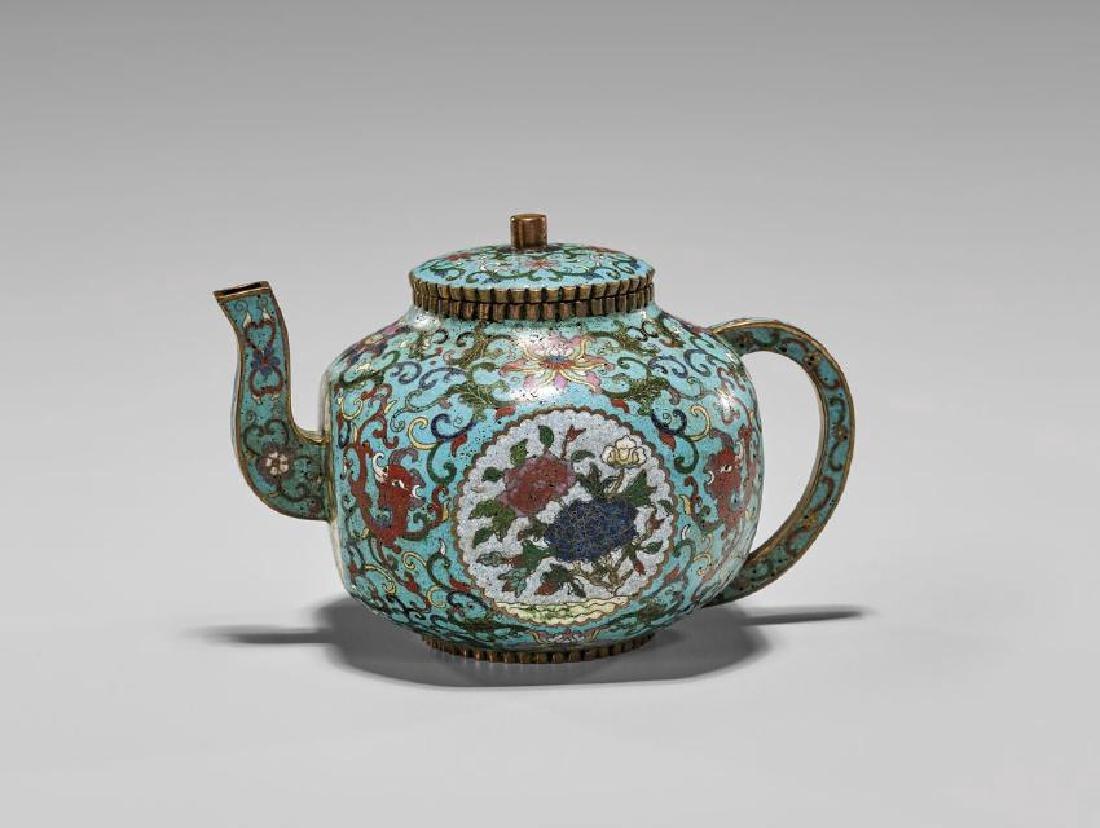 Antique Chinese Qianlong-style Cloisonne Teapot