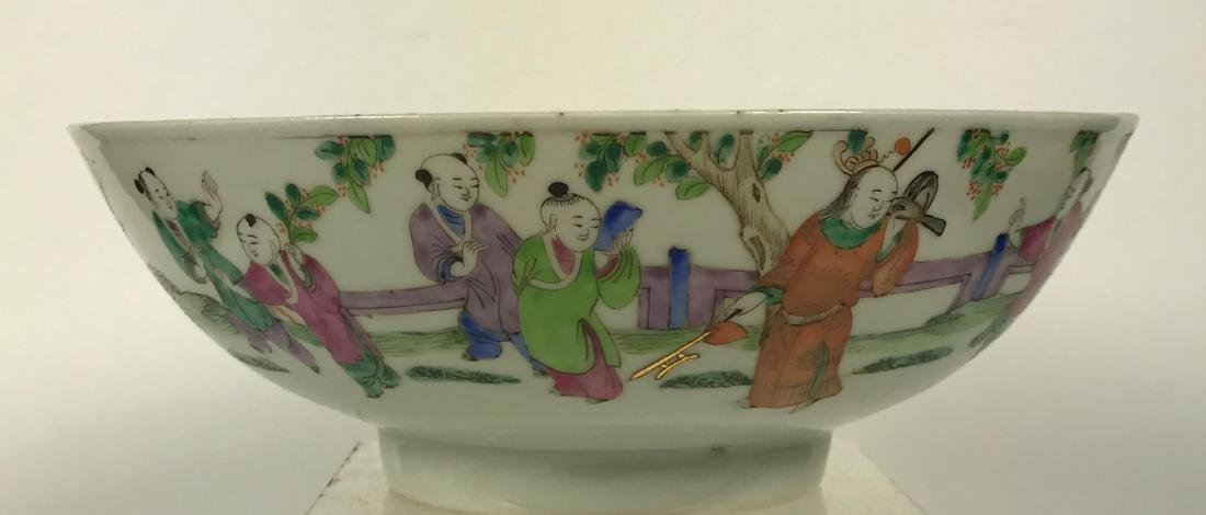 Chinese Qing Porcelain Bowl with Children, 19th C