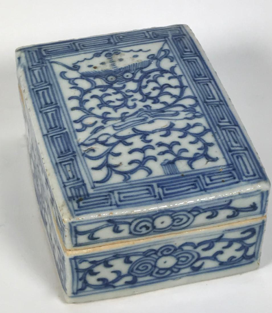 Chinese Qing Porcelain Blue & White Box, 19th C