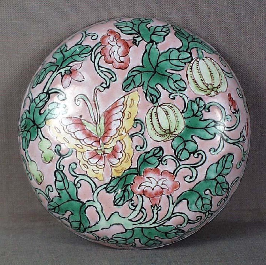 Chinese Qing Scholar Canton Enamel Seal Paste Box