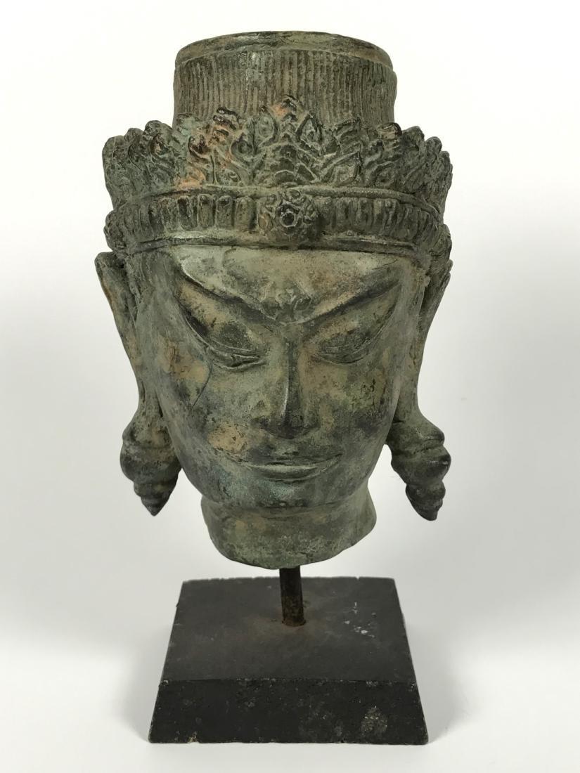 Chinese Qing Bronze Guan Yu Head, Wood Stand