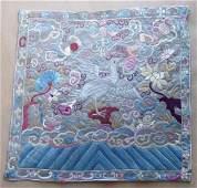 Chinese Qing Textile Rank Badge Mandarin Square, 19th C