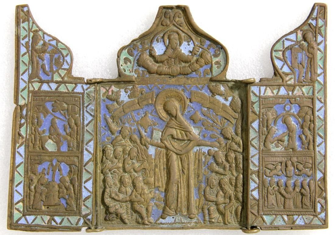 Our Lady of Joy to All Sufferers Enamel Triptych