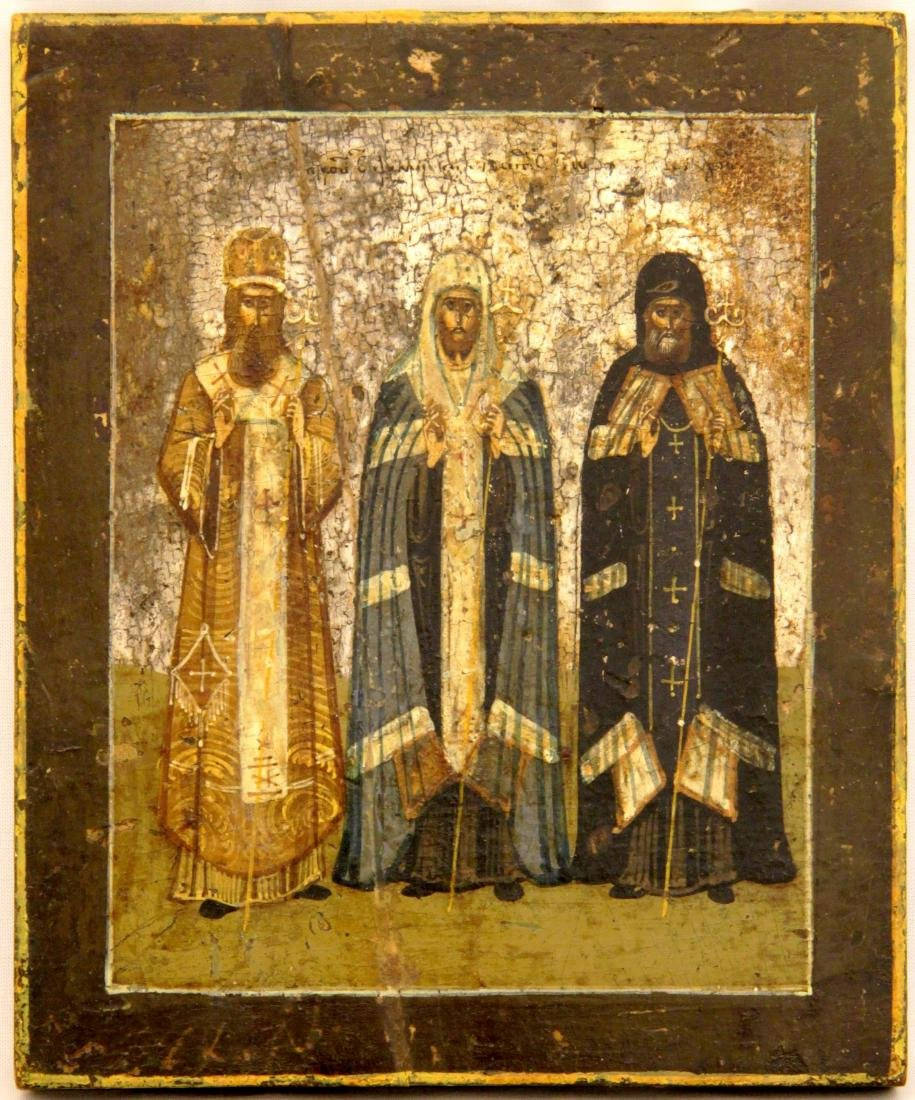 Three Saints Russian Icon, 19th C