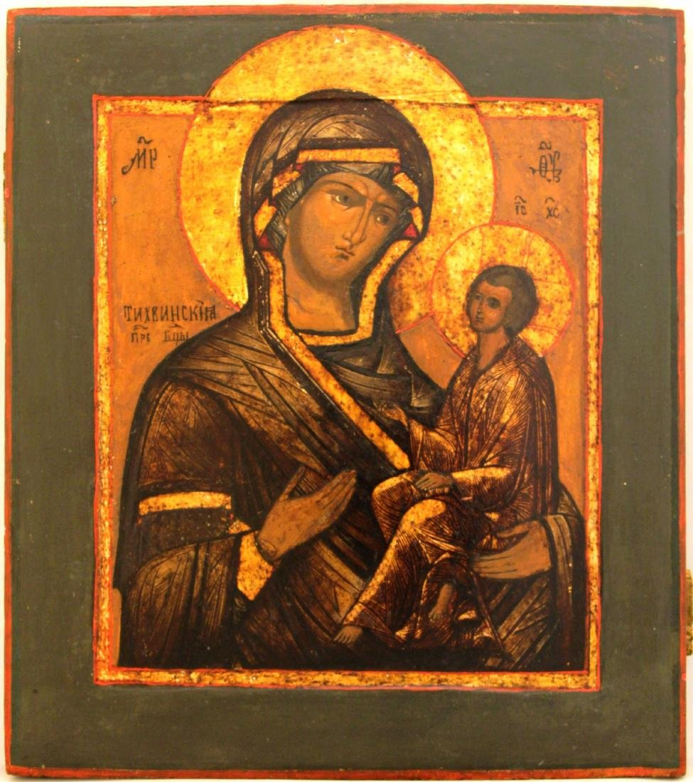 Theotokos of Tikhvin Russian Icon, 19th C