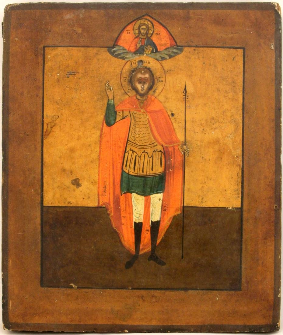 Saint John the Warrior Russian Icon, 18th-19th C