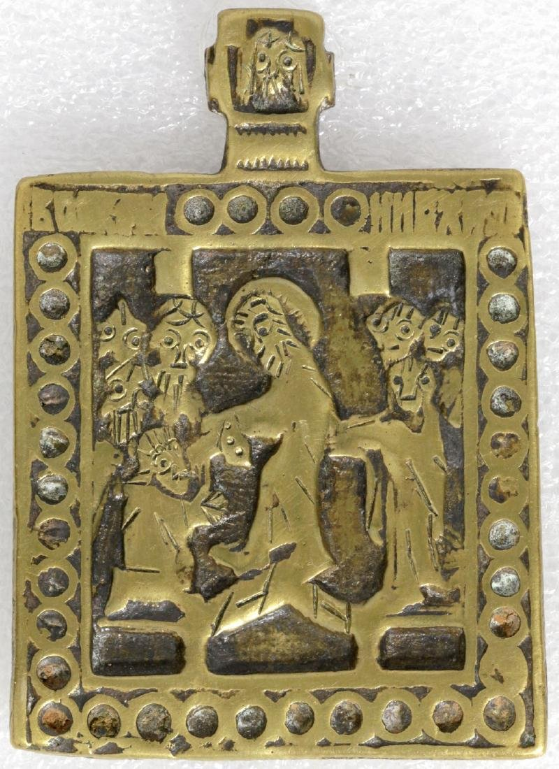 Resurrection Russian Metal Icon, 18th C