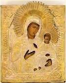 Our Lady Hodegetria of Smolensk Metal Oklad Icon 19th C