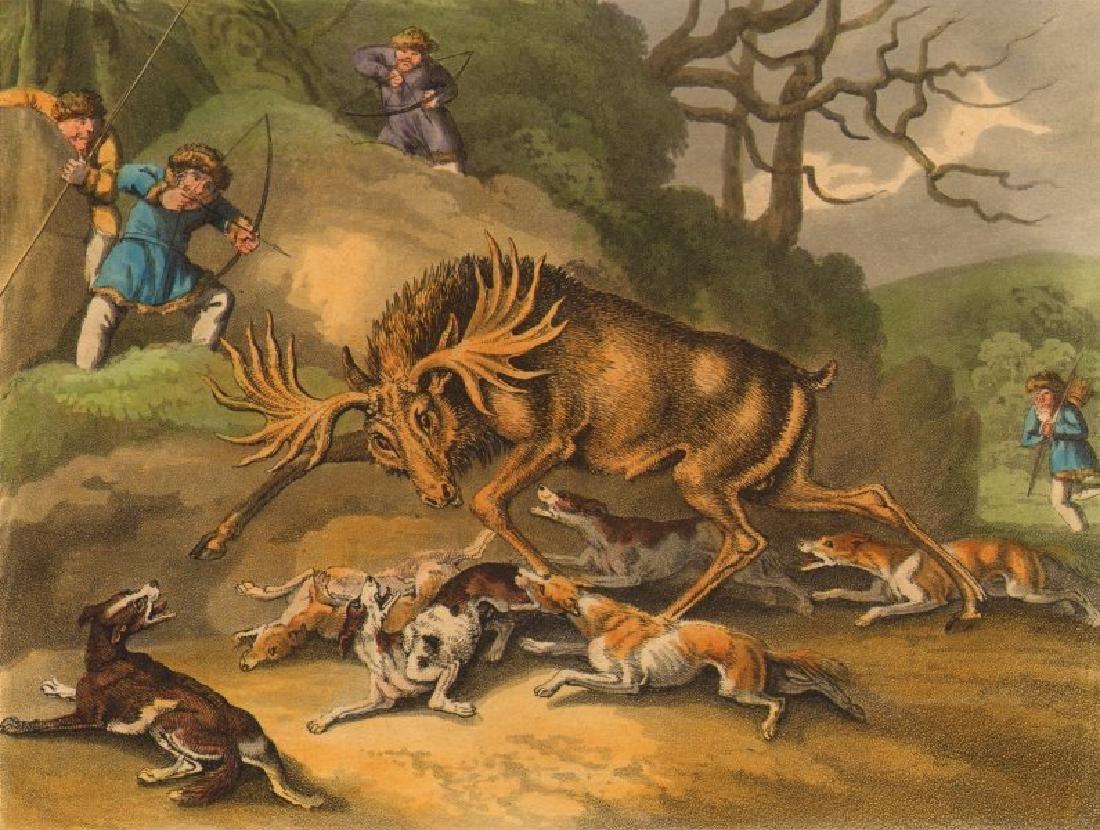 Arctic: Hunt Elk Bow Arrows Dogs, 1814