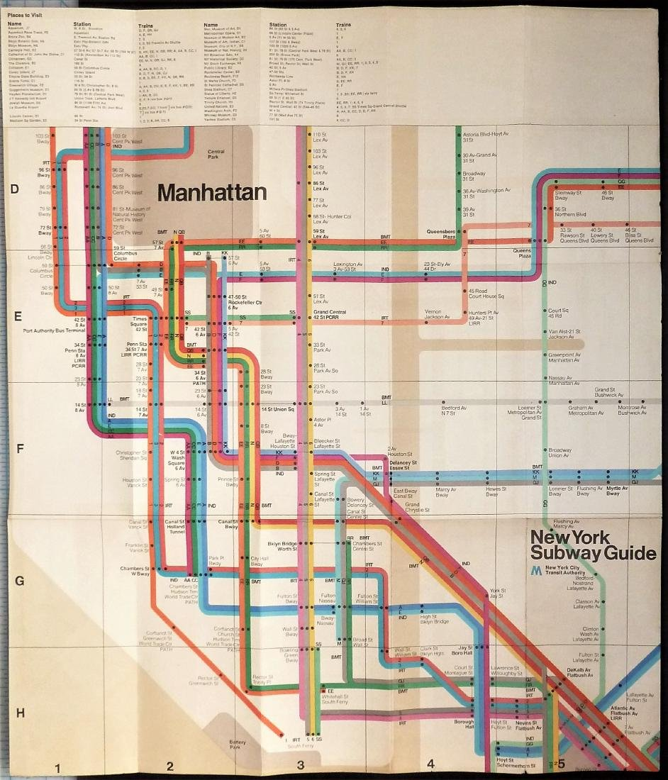 New York Subway Guide Map, 1972