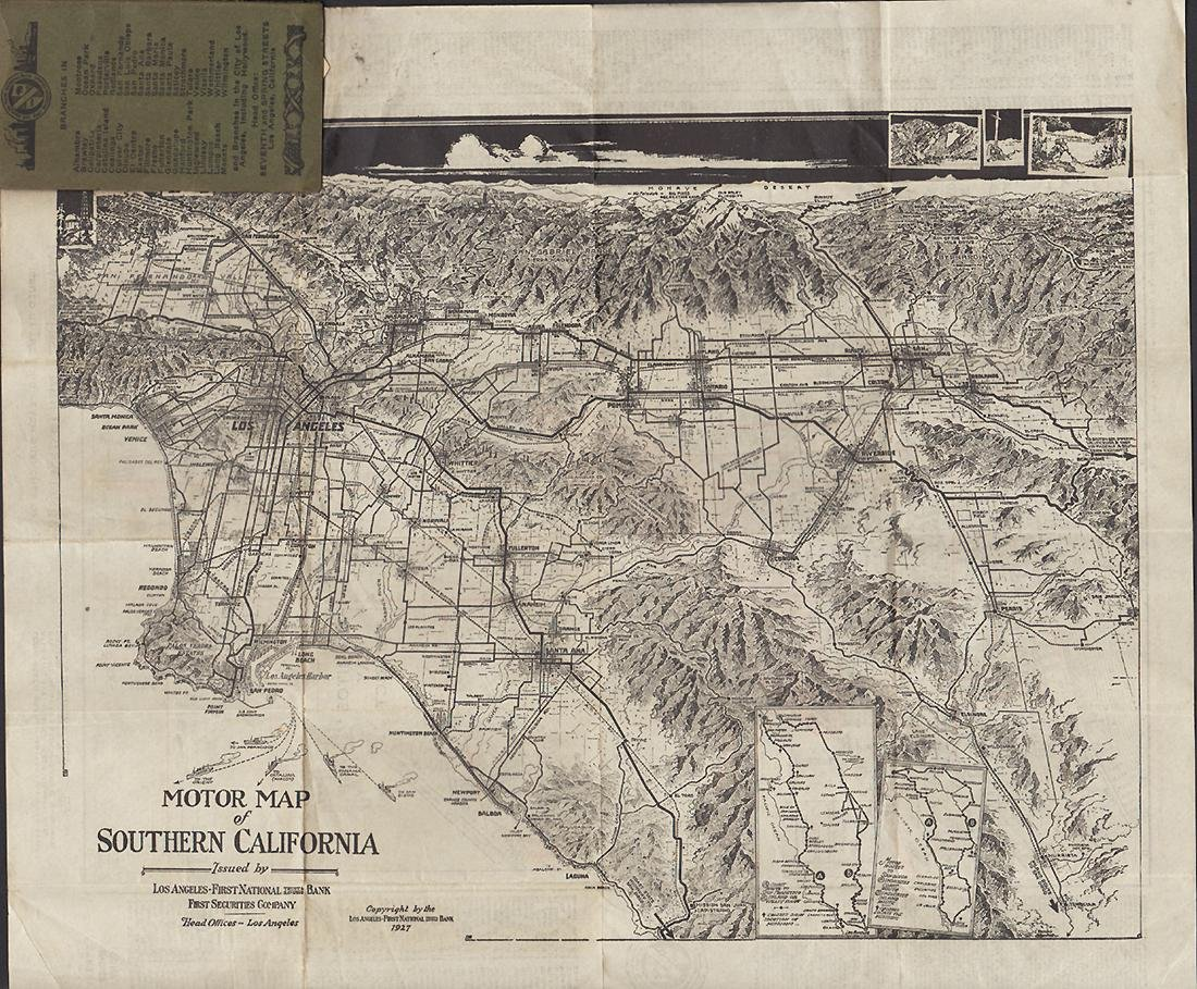 Pocket Map of Long Beach & Southern California, 1927