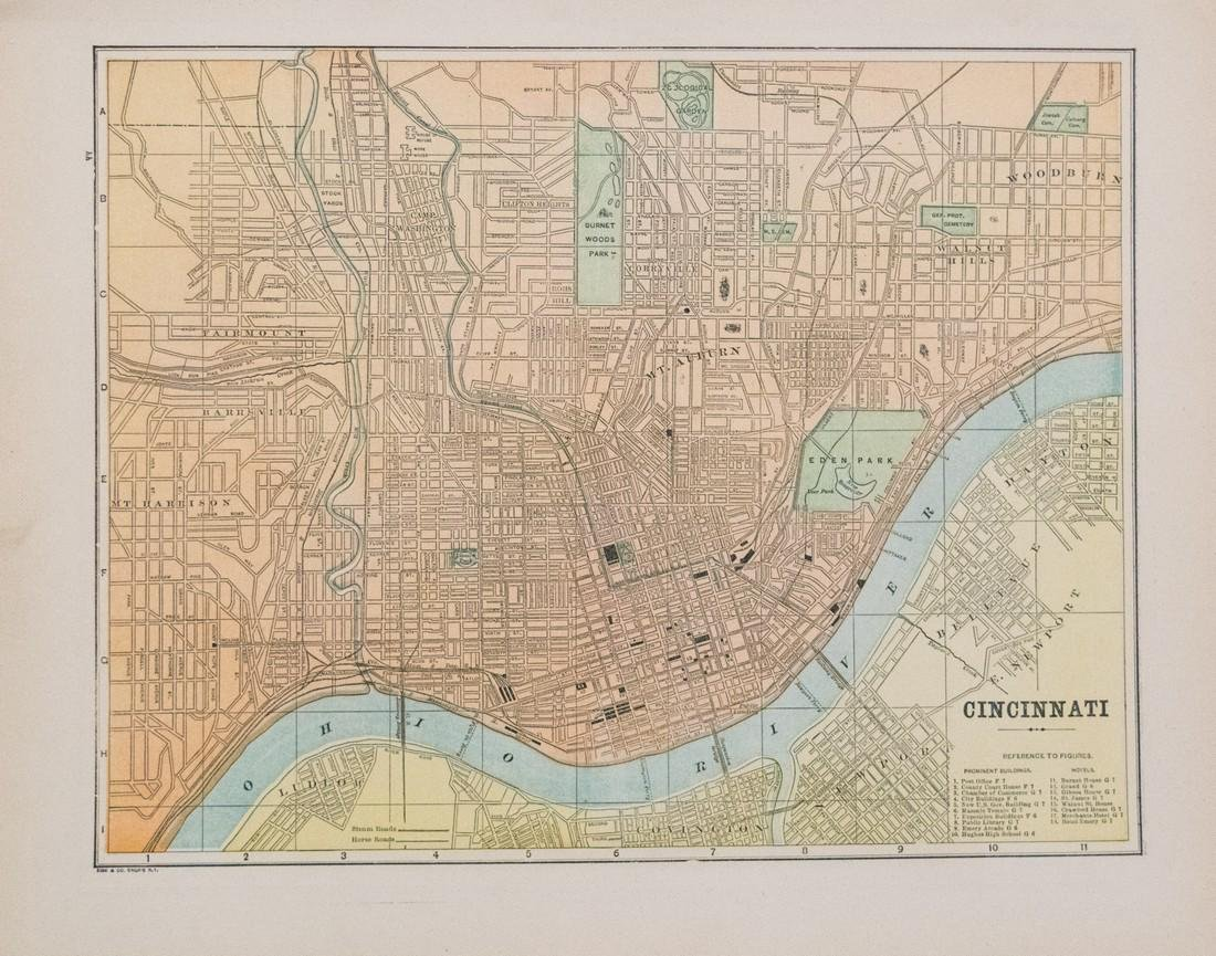 Macy/Cram: Map of Cincinnati, 1896