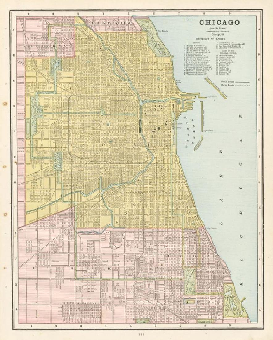 Cram: Map of Chicago, 1889
