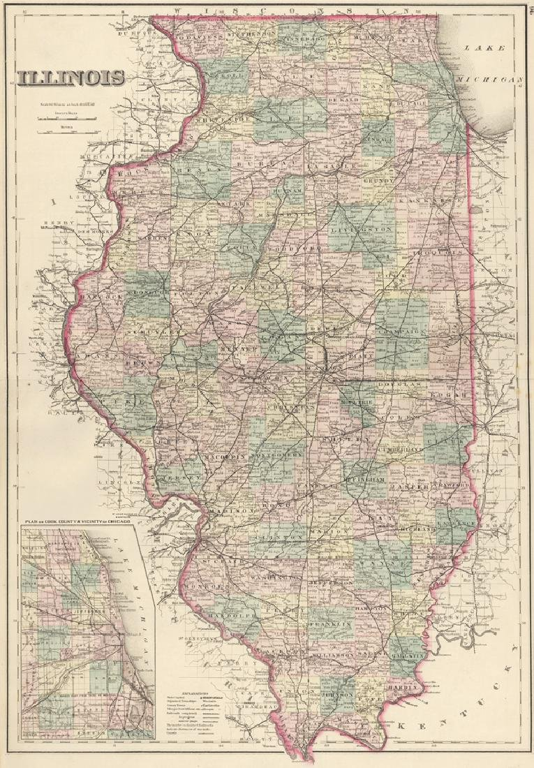 Gray & Son: Map of Illinois, 1878