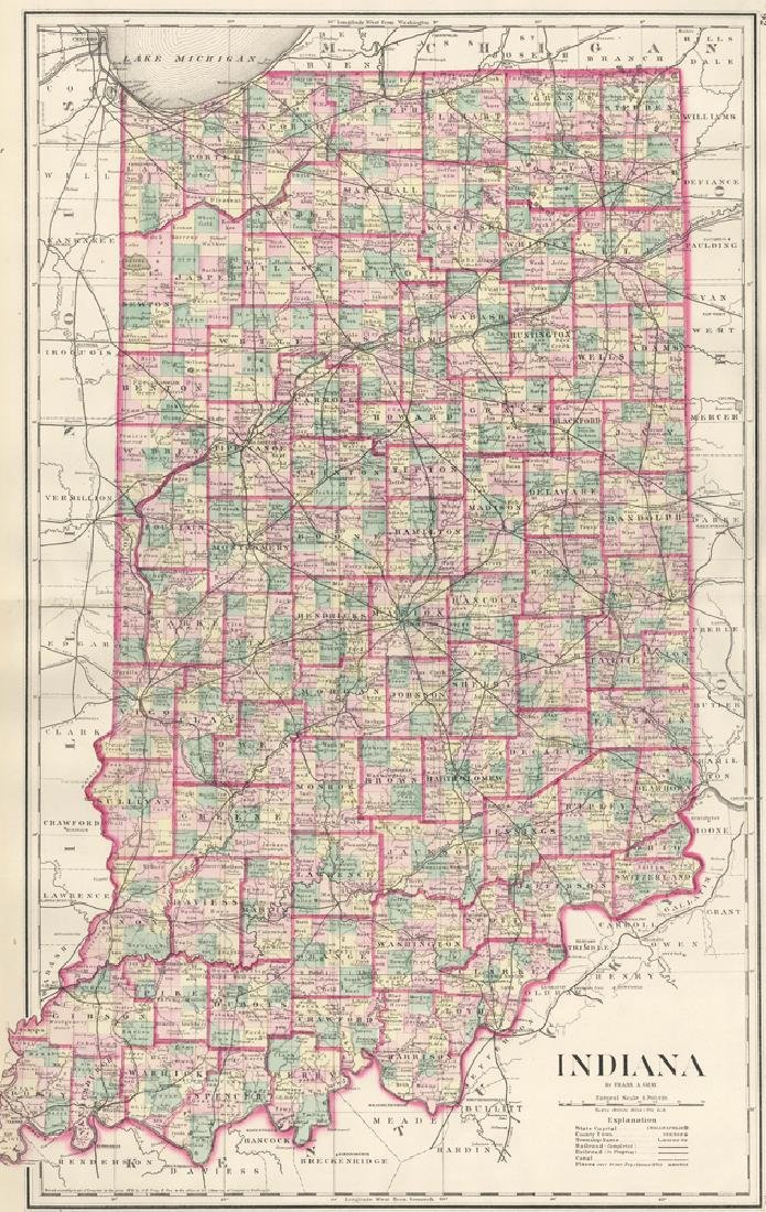 Gray & Son: Map of Indiana, 1878