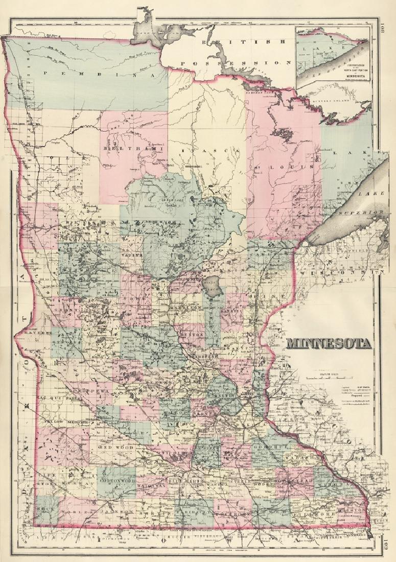 Gray & Son: Map of Minnesota, 1878