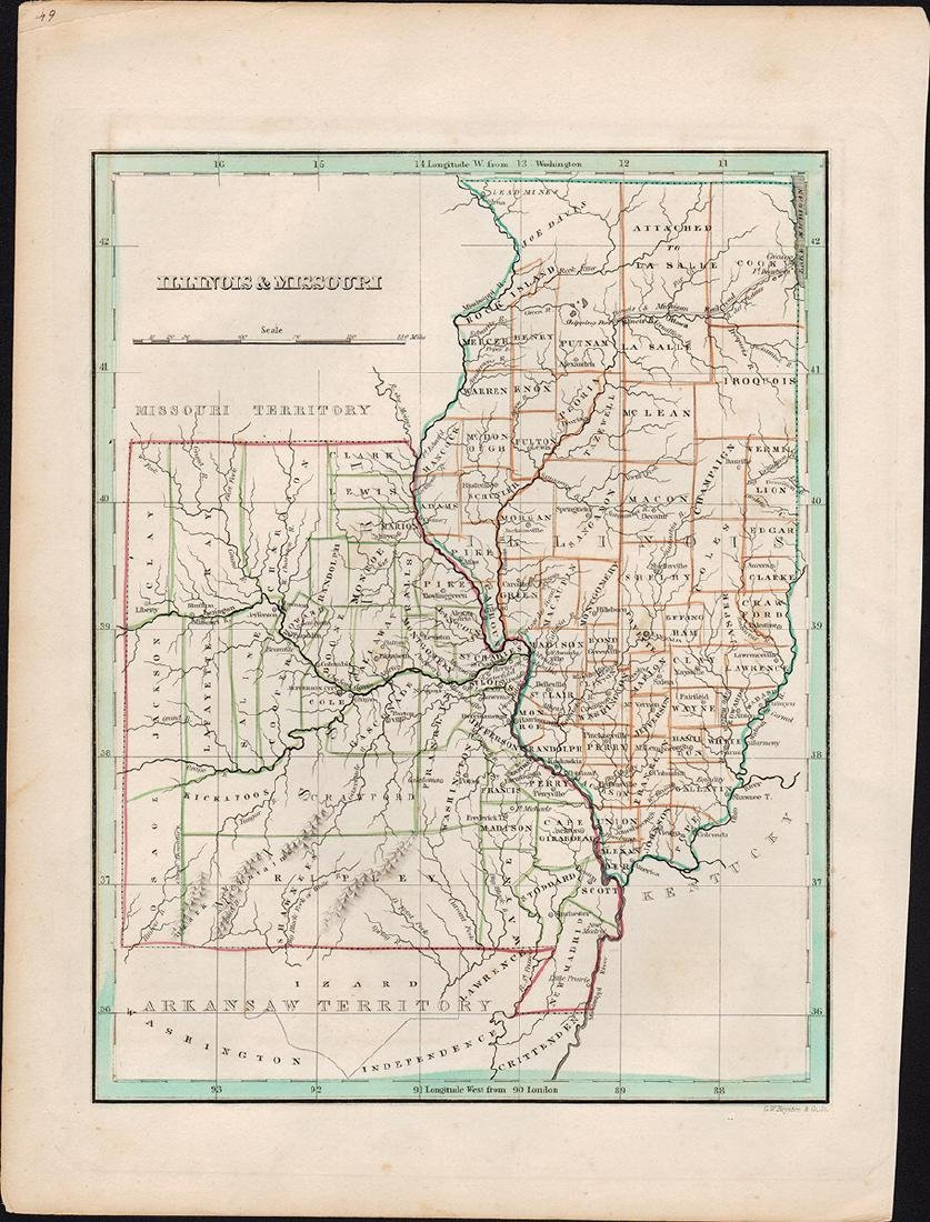 Bradford Map of Illinois & Missouri, 1835