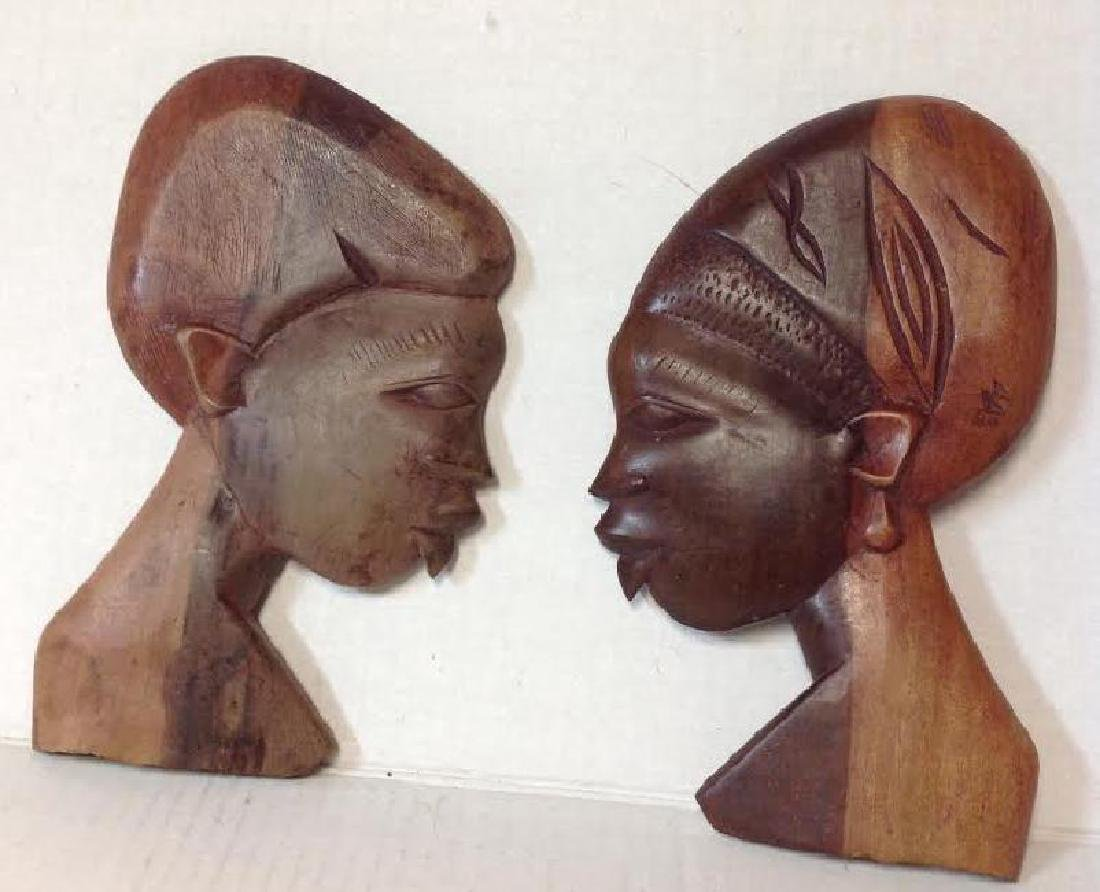 2 African Female Face Plaques