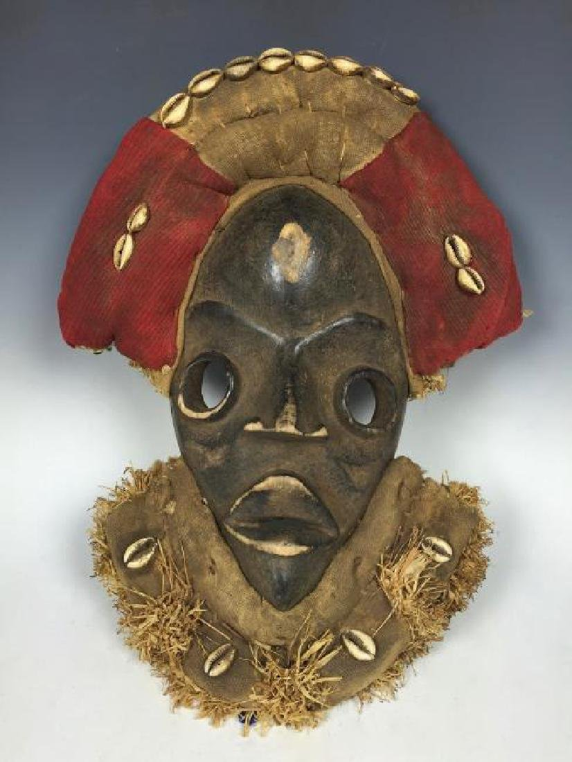 Dan Style Mask with Cowry Shell from Ivory Coast