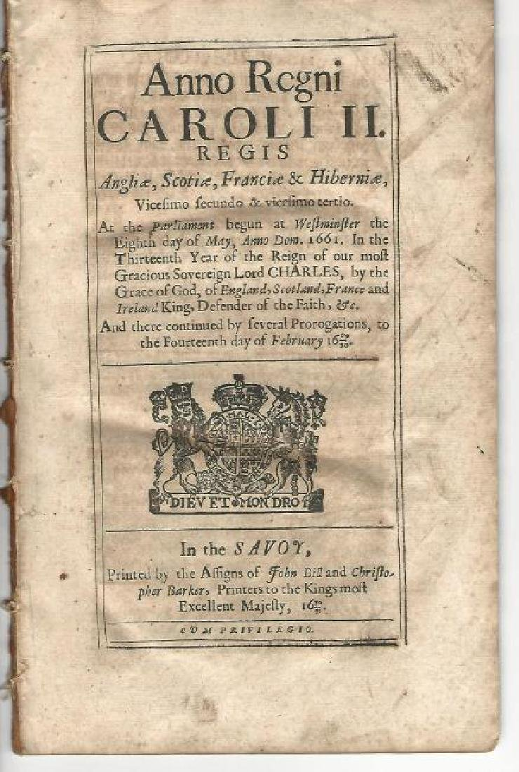 1671 English Act Of Parliament Subsidy For The King