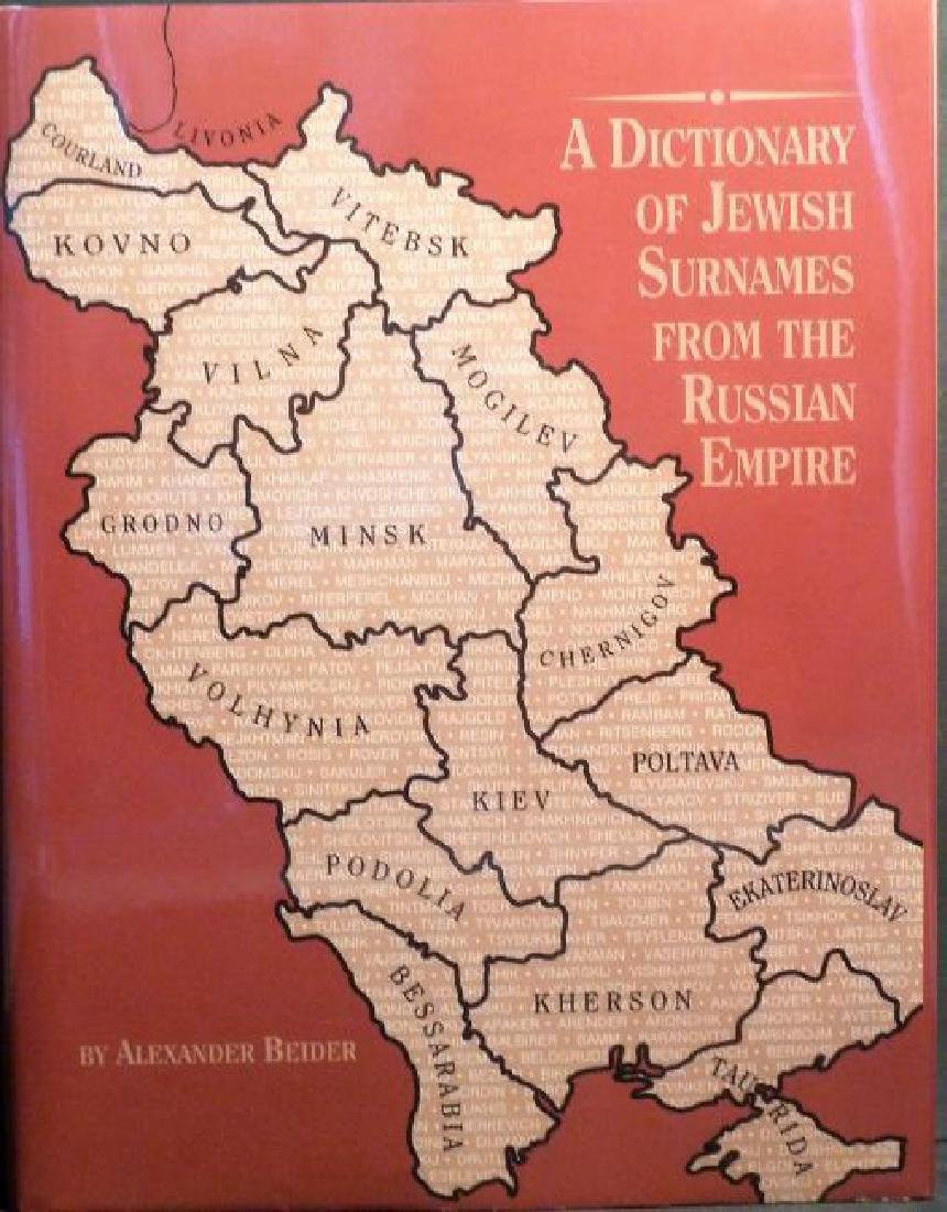 A Dictionary Of Jewish Surnames From The Russian Empire